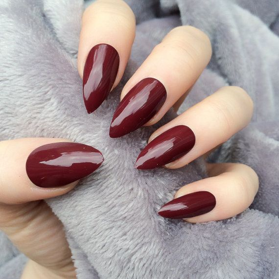 Doobys Stiletto Nails Deep Red Gloss Gel Look 24 Claw Point False Nails Maroon Nails Almond Acrylic Nails Burgundy Nails
