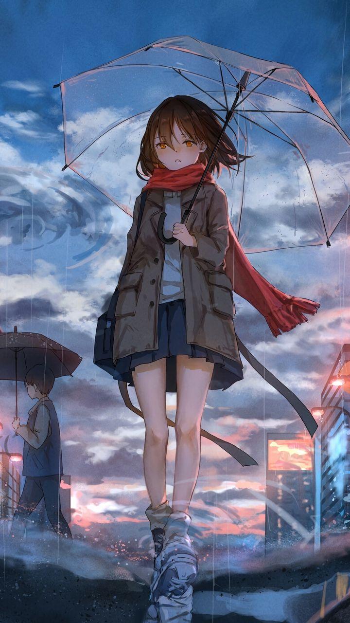 Скачать 720x1280 девушка, зонт, аниме, дождь, грусть обои ...