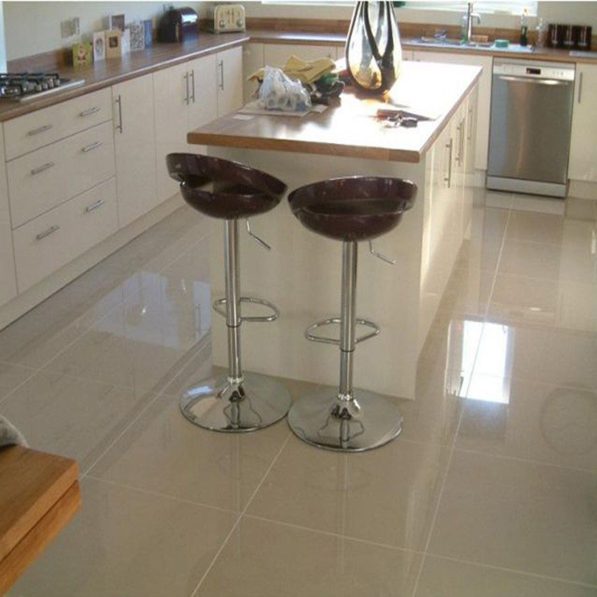 Cream High Gloss Kitchen Floor Tiles New House Outhouse