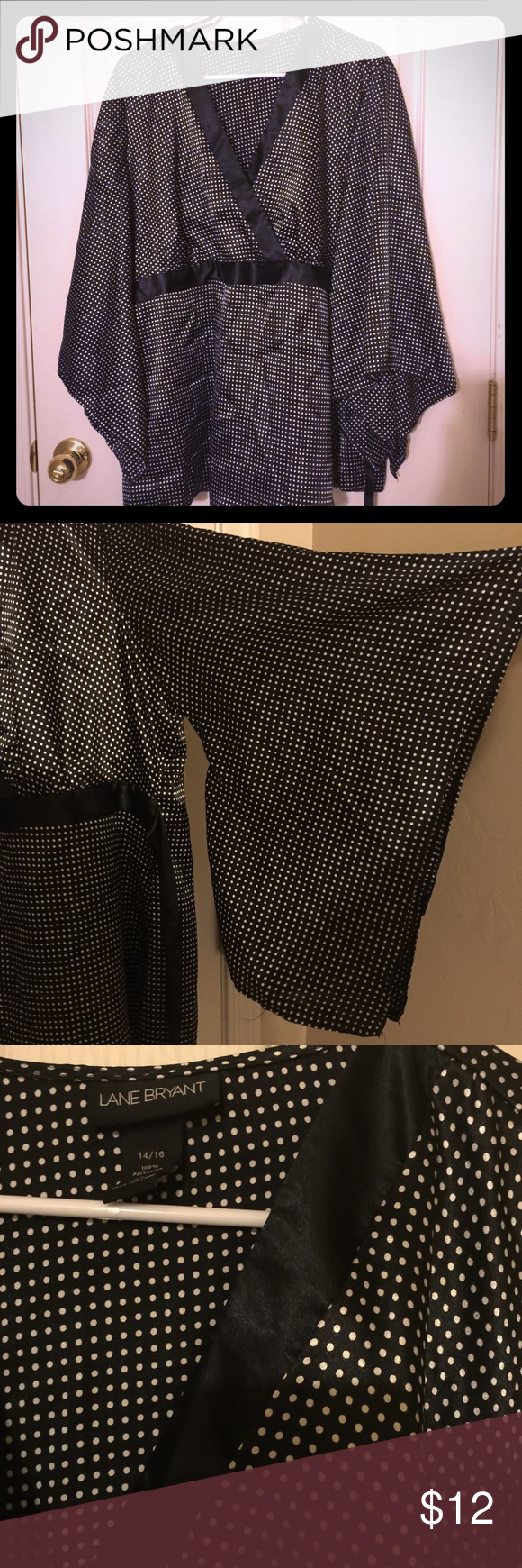 Lane Bryant kimono blouse Beautiful silky black with white polka dot kimono blouse with gorgeous waterfall sleeves and a tie in the back. In great condition! Size 14/16 Lane Bryant Tops