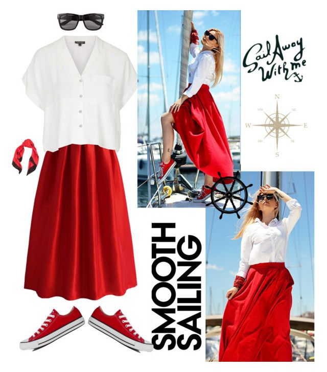 """""""Sailing Away in my Red Shoes"""" by natalieyaeger ❤ liked on Polyvore featuring Chicwish, Topshop, Converse, Vero Moda and Balenciaga"""