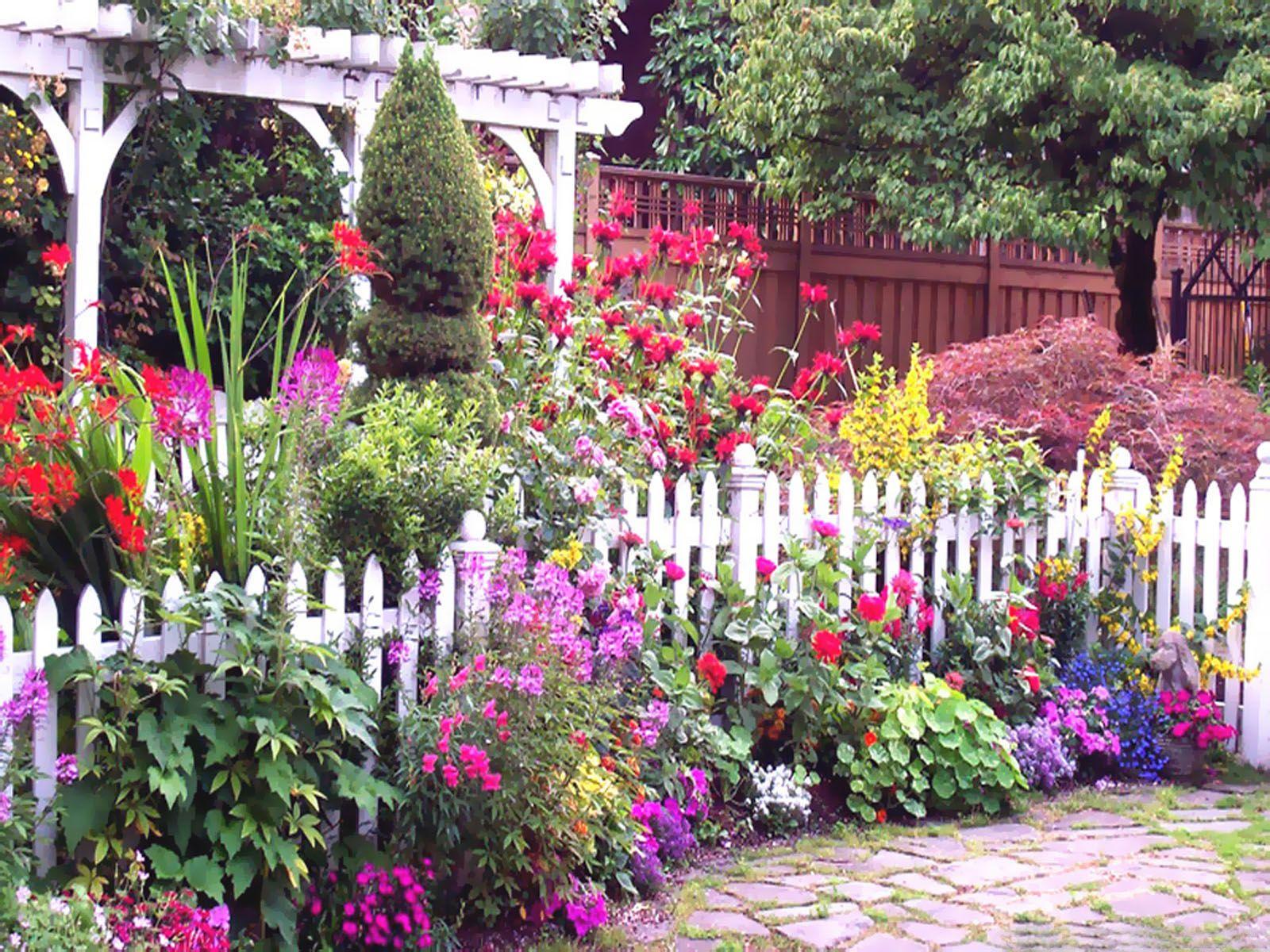 English Flower Garden summer spring nature flowers garden fence english