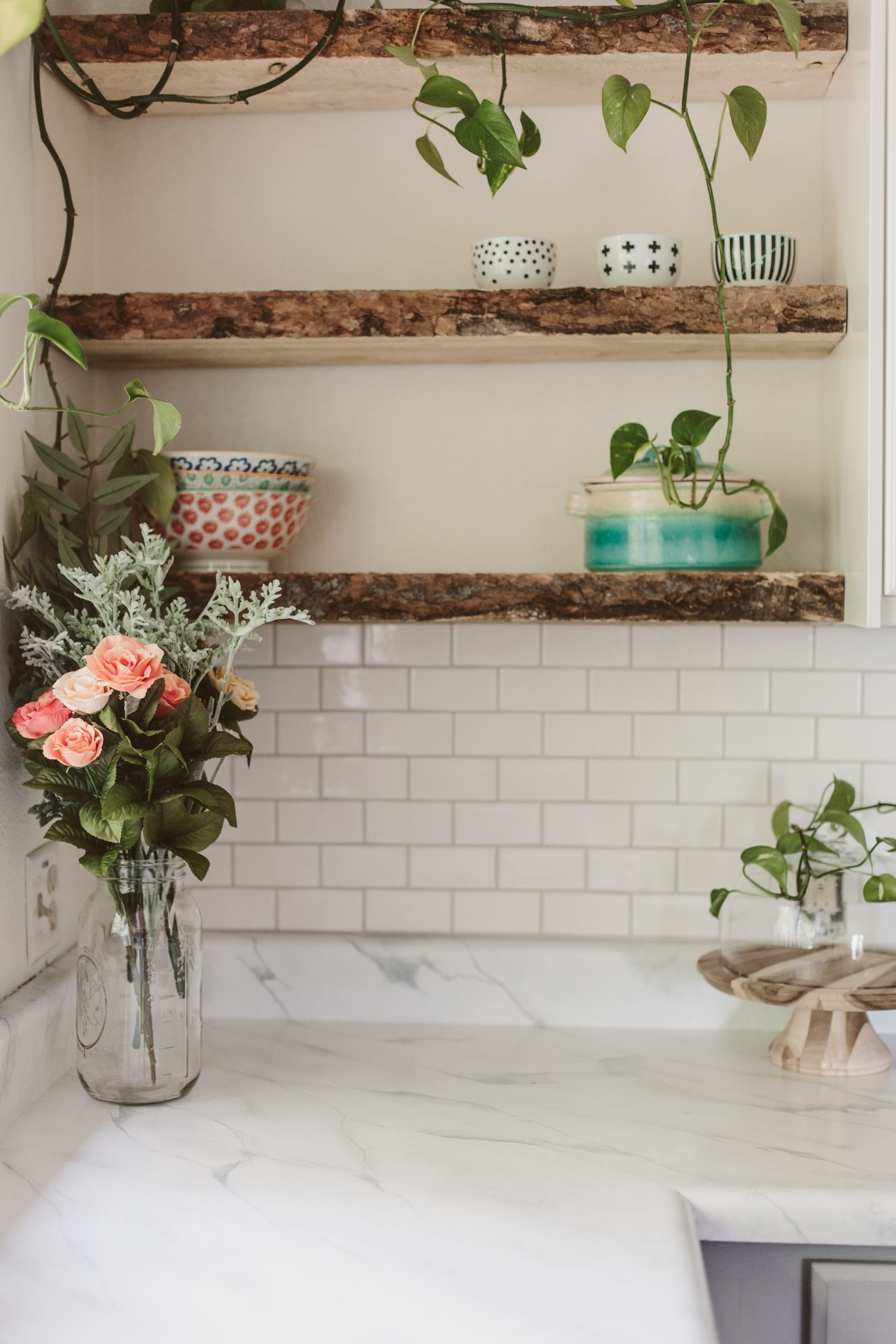 DIY Painted Faux Marble Counter and live edge floating shelves