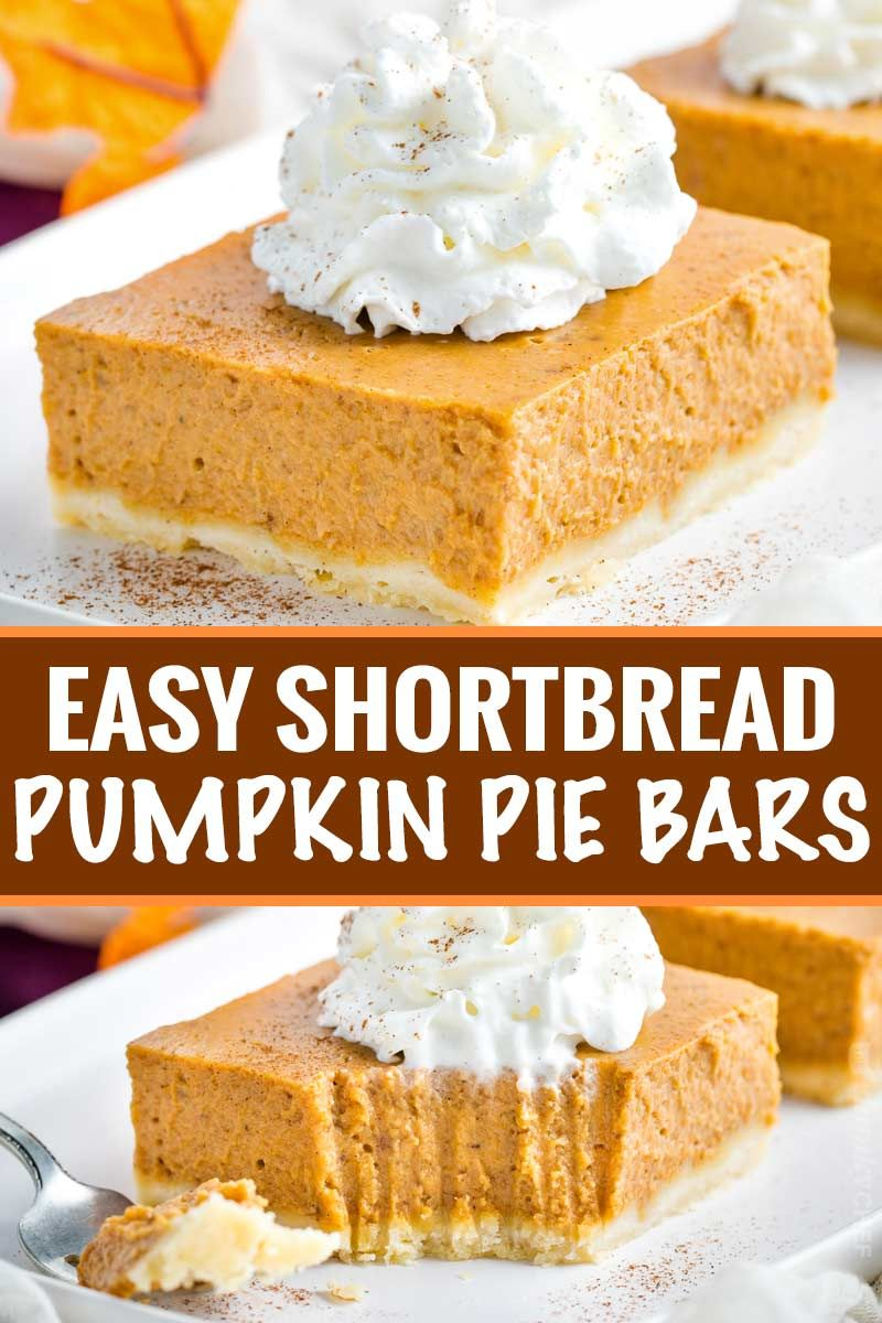 Pumpkin Pie Bars (with Shortbread Crust!) - The Chunky Chef