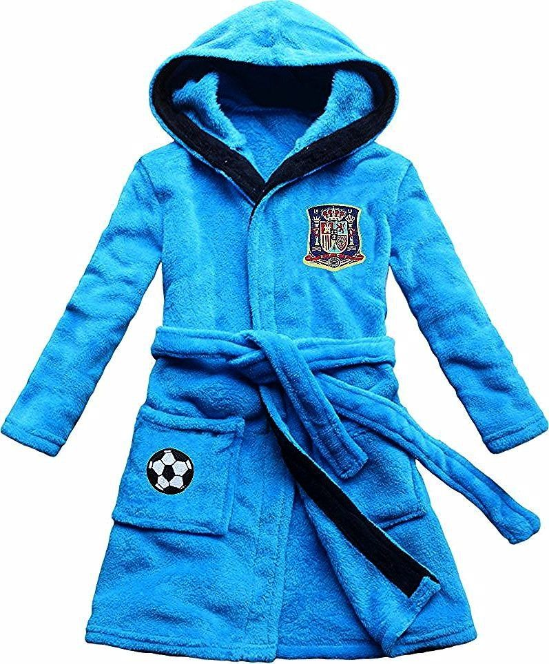 new boy bathrobe coral velvet Spanish soccer team emblem embroidery blue childrens robein Robes from Mother  Kids on  Alibaba GroupFEETOO new boy bathrobe coral velvet Sp...