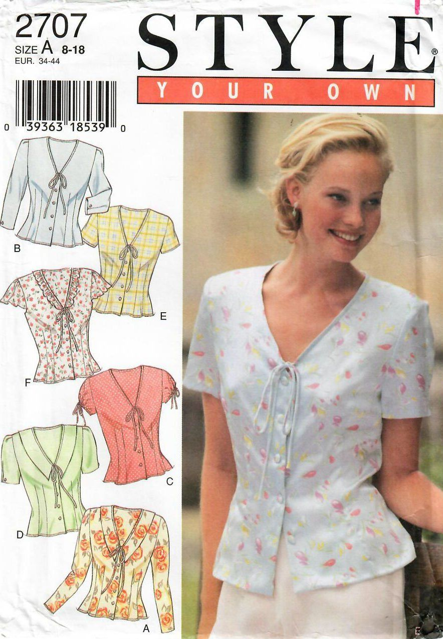 STYLE 2707 Misses/' Blouses 8 to 18  Sewing Pattern