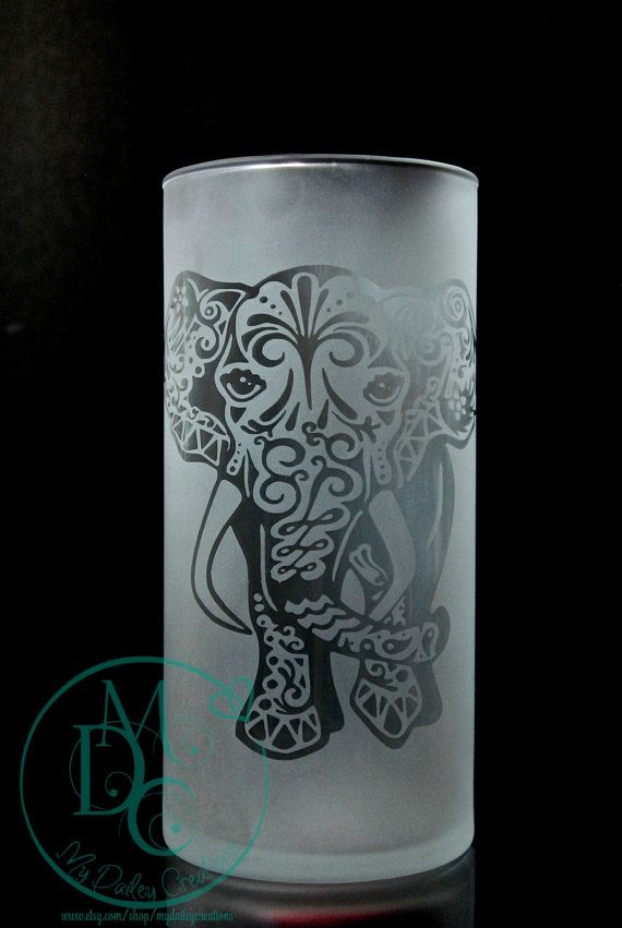 Tribal Elephant Vase Glass Etched Vase Etched Glass Gifts