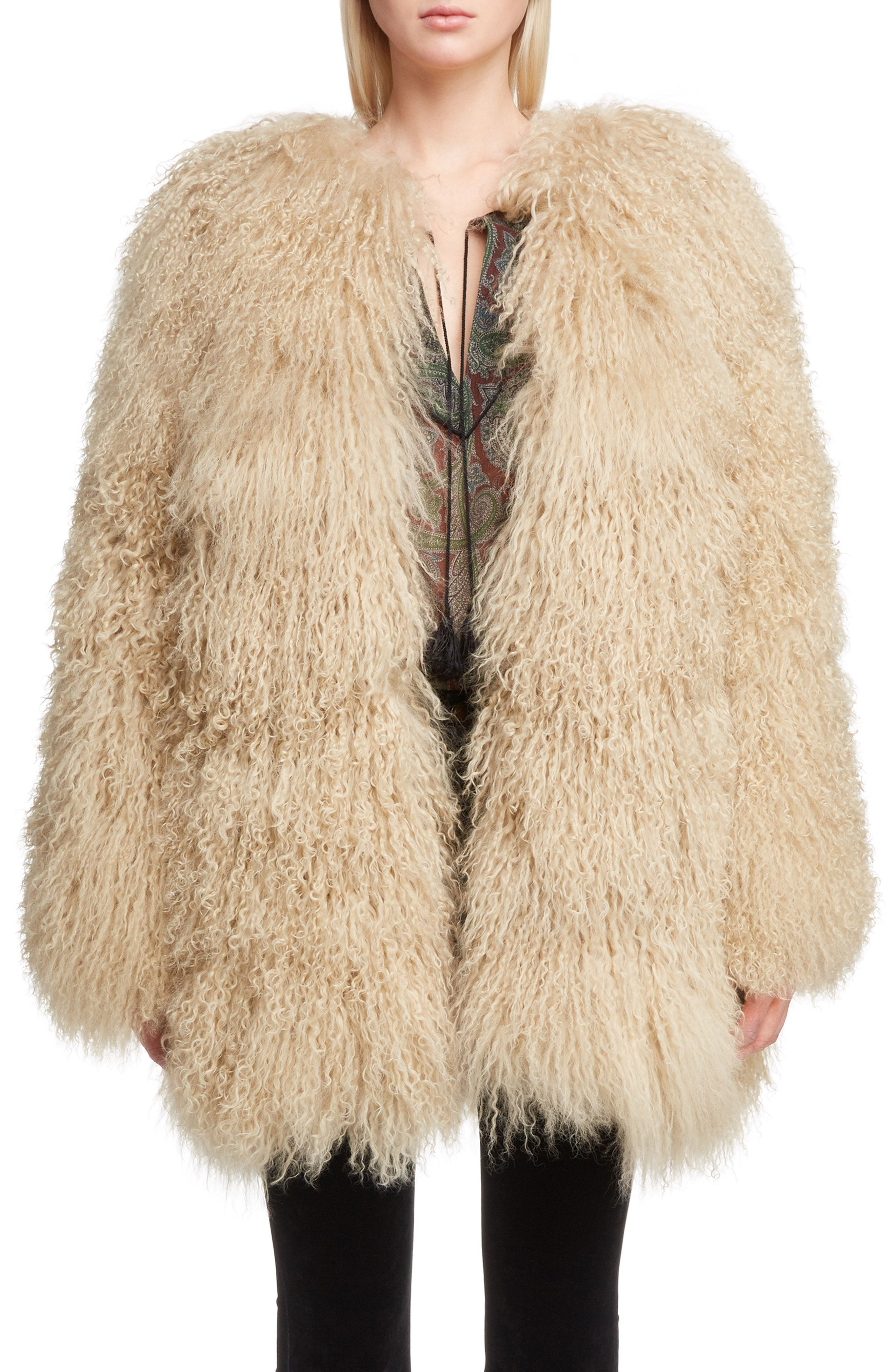 4c041efd2 Saint Laurent Genuine Mongolian Goat Fur Jacket available at #Nordstrom