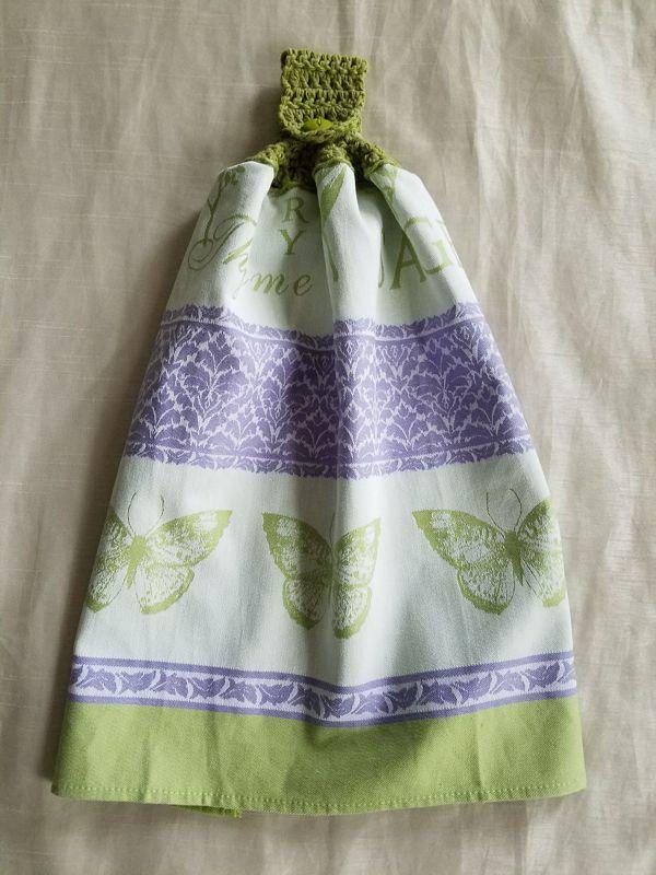 Crochet Kitchen Towel,Herb Butterfly Kitchen Towel,Green Kitchen,Cotton Kitchen  Towel,