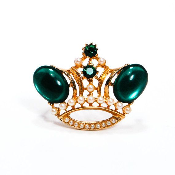 Crown Brooch Coro Style Gold Tone Emerald Green Cabochons Rhinestones  Faux  Pearls