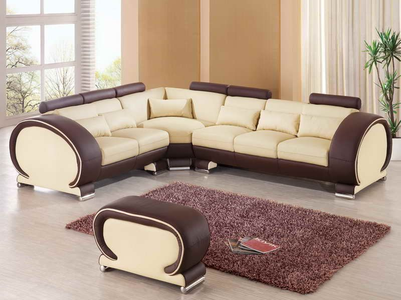 9002 sectional sofa by esf in beige brown leather - Cool Sectional Couches