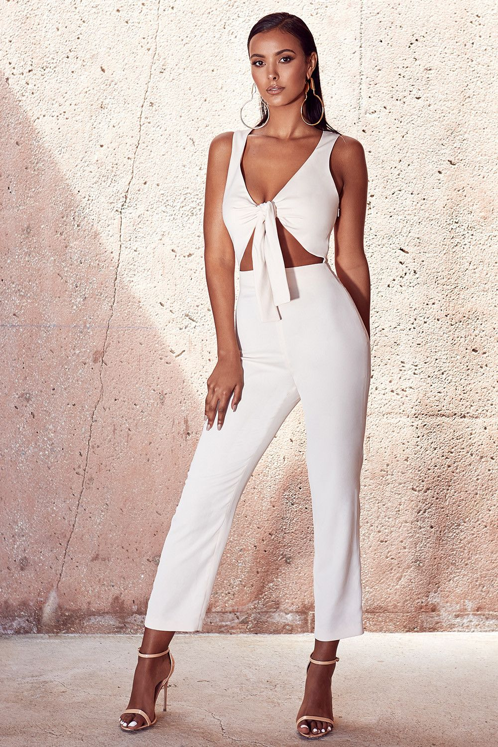 99659147f19 Clothing   Jumpsuits    Goya  Cream Crepe Knotted Front Jumpsuit ...