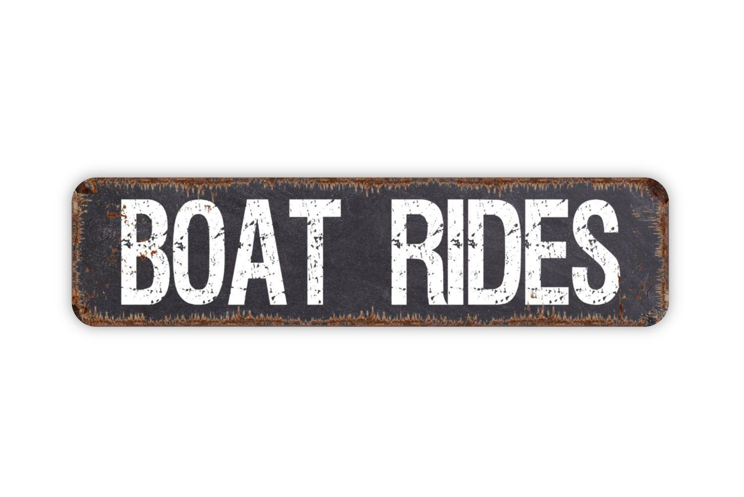 Boat Rides Funny Lake Dock Rustic Custom Metal Sign Rustic Etsy Custom Metal Signs Custom Metal Door Name Plates