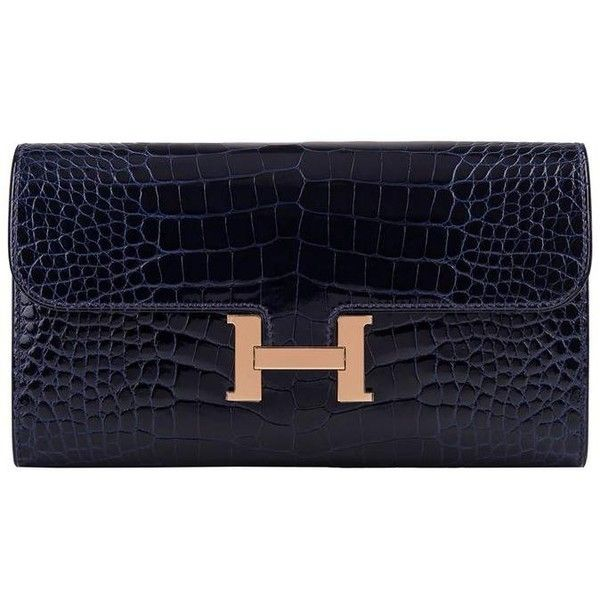 06ec4ec704 Hermes Blue Marine Alligator Constance Long Clutch Wallet ( 16