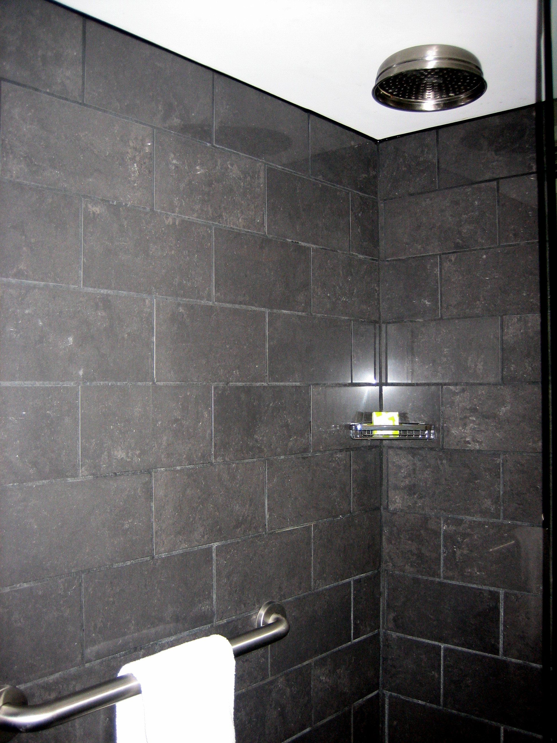 12x24 Tile Installed Horizontal Brick Pattern Rain Head Tile Bathroom Brick Patterns Tile Installation