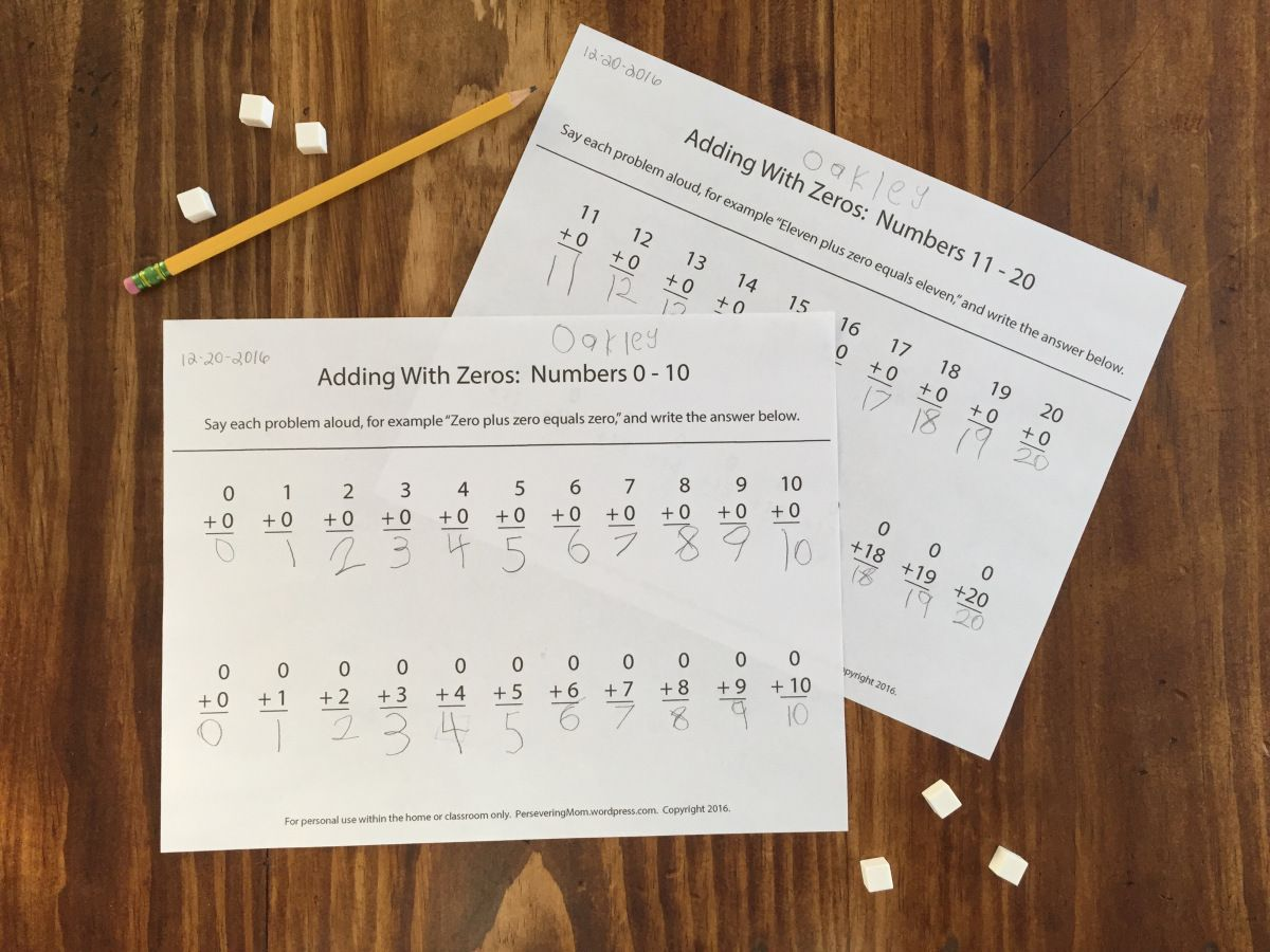 Adding With Zeros Worksheet For Kindergarten Kids Great