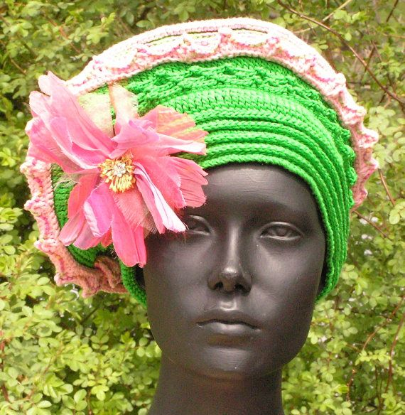 Bright Green & Soft Pink Crochet Hat with a by FunkyMagicalHats, $80.00