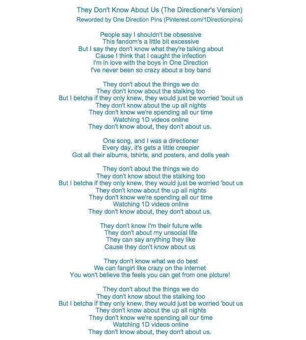 One Direction Lyrics One Direction Songs I Love