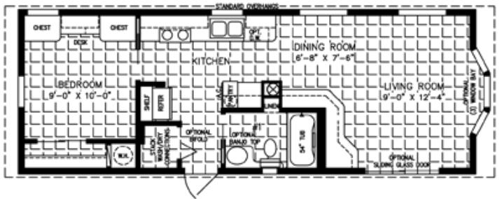 1 Bedroom Mobile Homes One Bedroom Mobile Manufactued Homes Mobile Home Floor Plans House Floor Plans One Bedroom