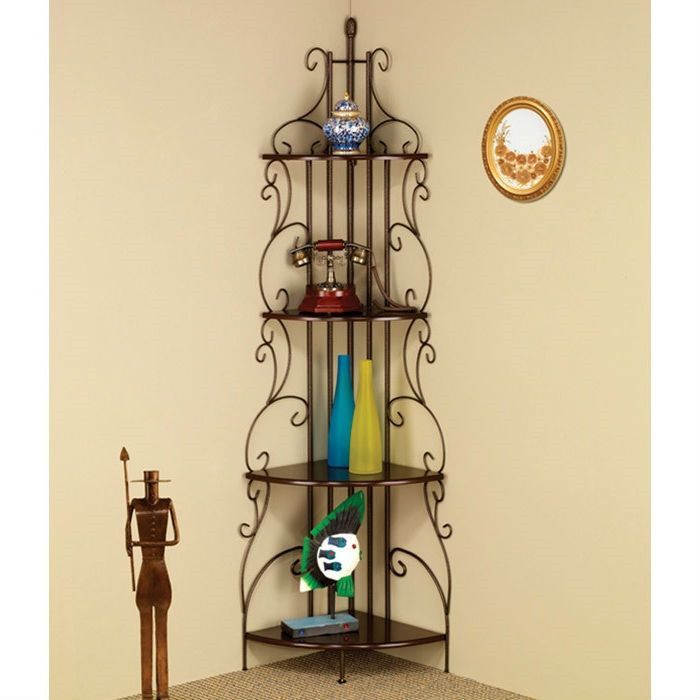 Corner Bakers Rack With Storage New Ornate 4Tier Metal Corner Bakers Rack Kitchen Dining Shelf  Home Inspiration