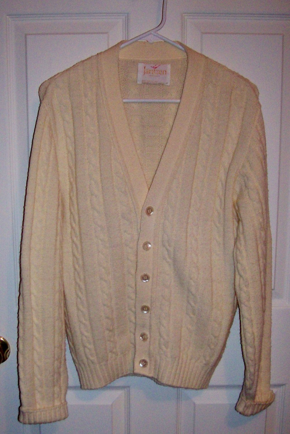 Vintage 1960s Men's Off White Cardigan Golf or Tennis Sweater by ...