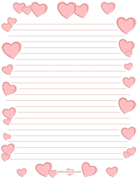 Printable black heart stationery and writing paper Multiple – Stationery Paper with Lines