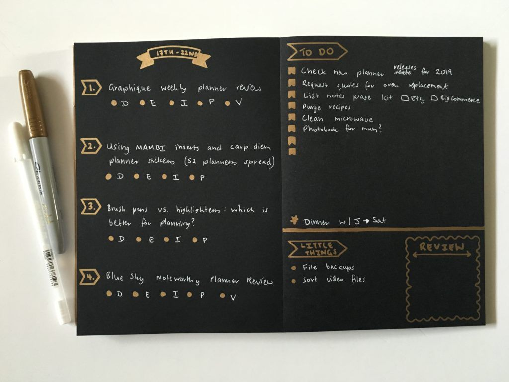 Bullet Journaling On Black Paper With White Gold Pens
