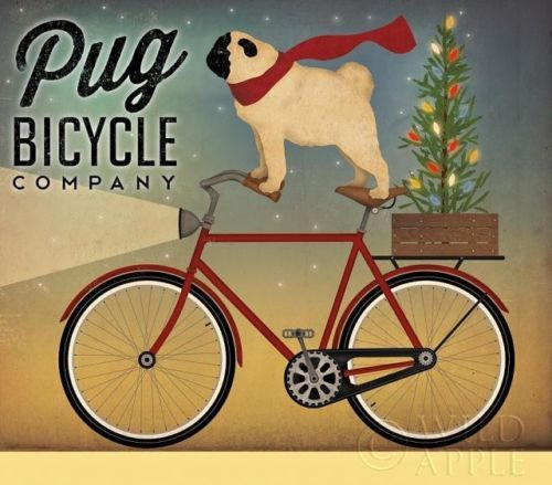Ryan Fowler Pug On A Bike With Xmas Tree Print On Demand Flat Canvas 24 X 24 Gallery Wrap Canvas Vintage Advertisement Pugs