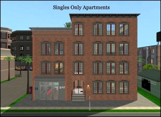 """Singles Only Apartments,"" an apartment lot by ..."