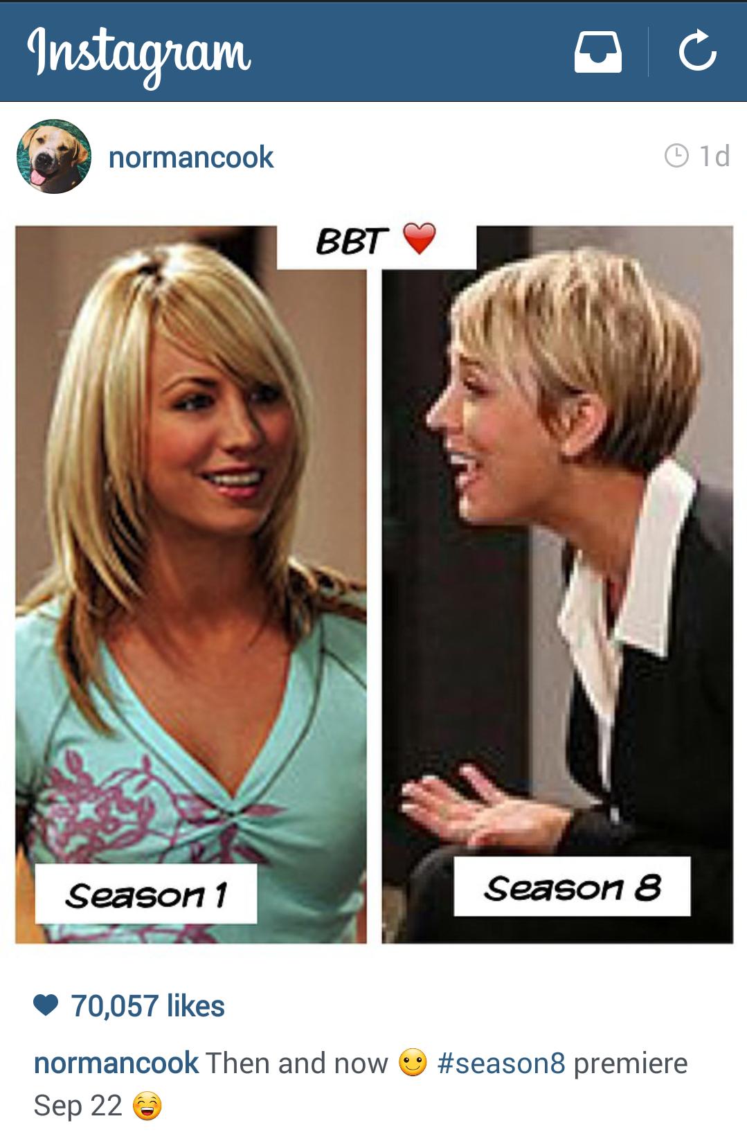 Tbbt Season 1 Vs Season 8 Penny Hair Cut The Big Bang Theory