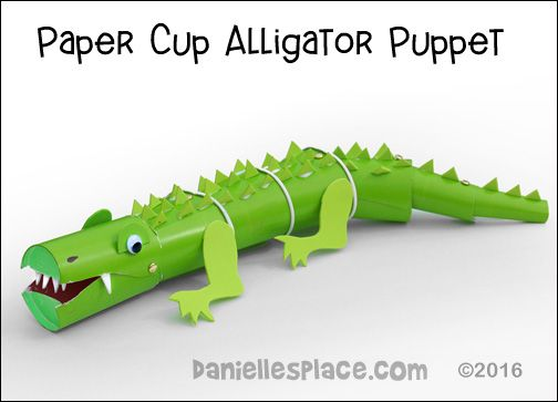 Alligator or crocodile puppet paper cup craft from www daniellesplace com