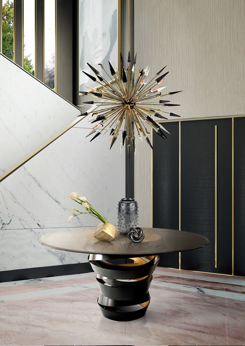 The Outburst Chandelier And The Intuition Dining Table Complete