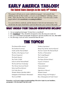 Early American Issues Tabloid Project Social Studies Lesson