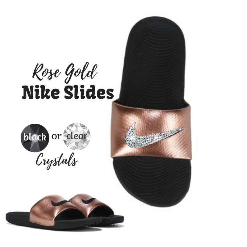 3bcc5927ab75 Women s Swarovski Nike Slides in the New Rose Gold Kawa Sandals Custom  PERSONALIZED Option Available by SparkleBoutique2U on Etsy