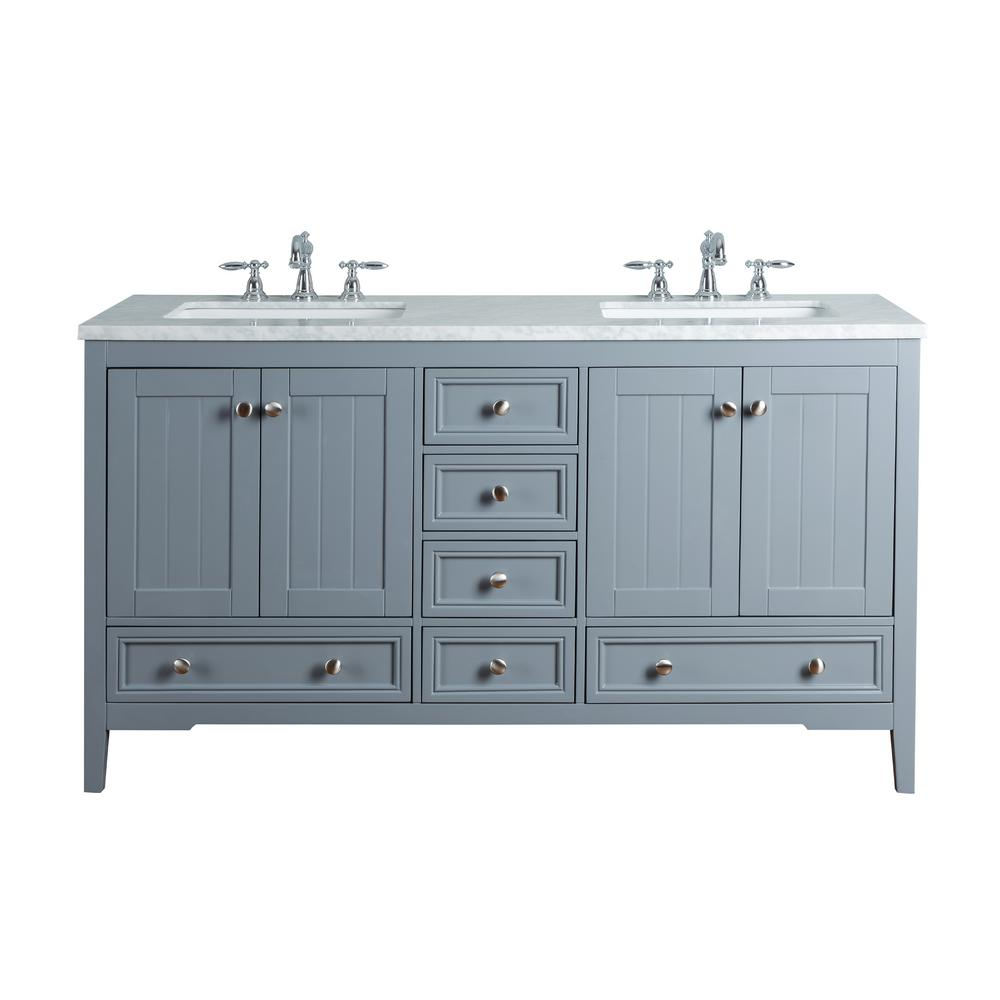 Stufurhome New Yorker 60 In Grey Double Sink Bathroom Vanity With Marble Top And White Basin