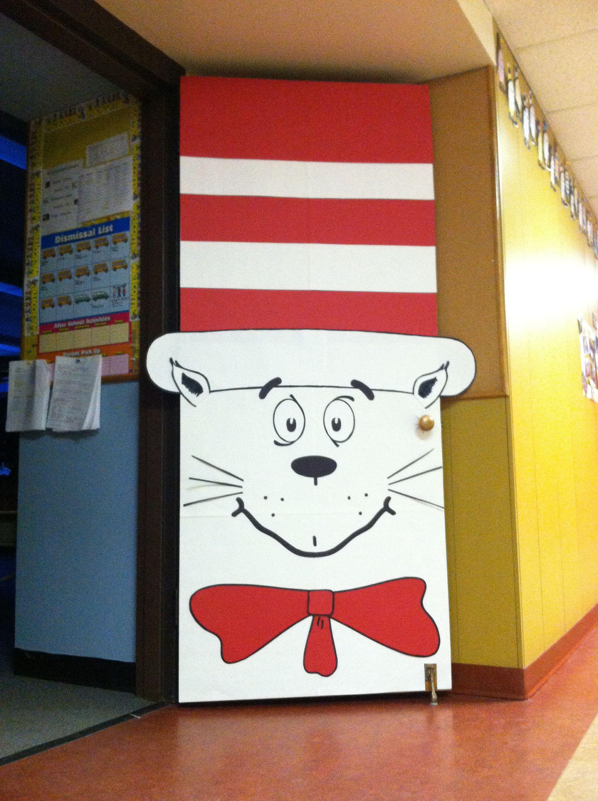 Cat In The Hat Door Dr Seuss Decorations Dr Seuss Classroom Door Dr Seuss Classroom