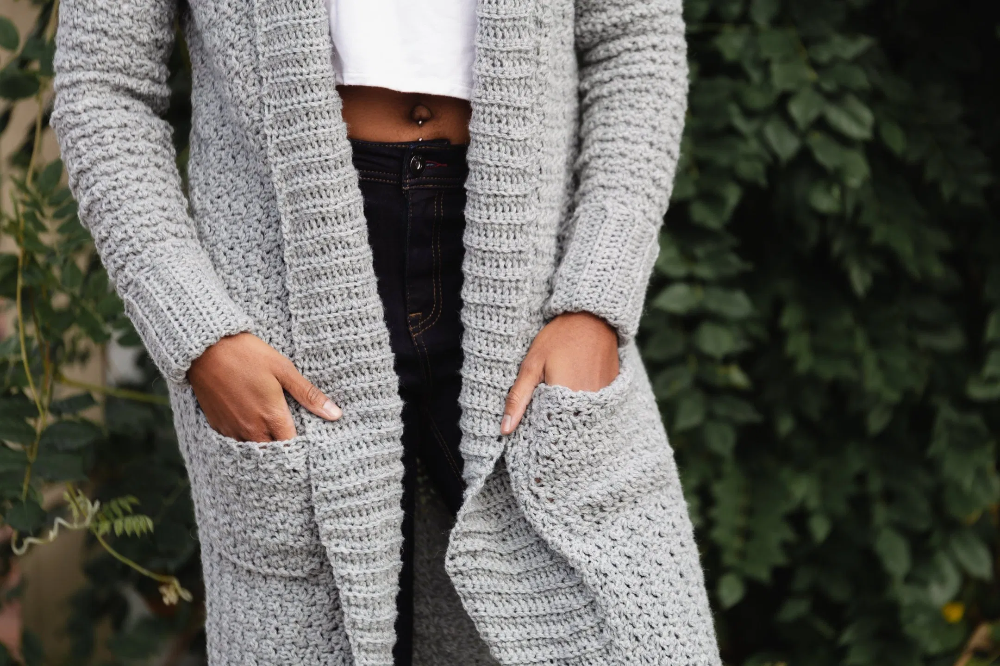 The Sweater Weather Cardi, a Long Modern Cozy Crochet Cardigan Pattern with Pockets   TL Yarn Crafts