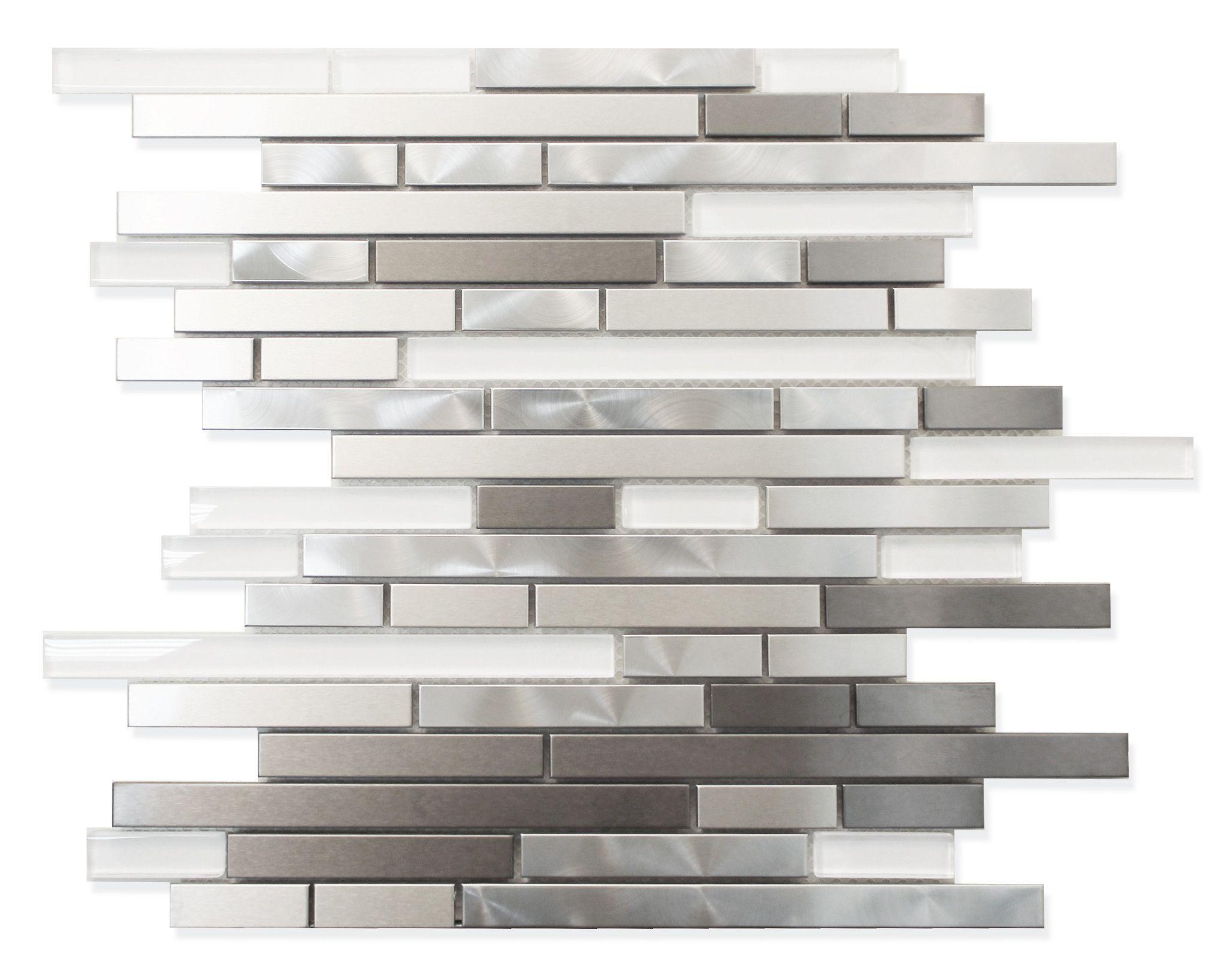 Stainless Steel And White Glass Random Strips Mosaic Tiles White Glass Mosaic Kitchen Renovation Kitchen Interior
