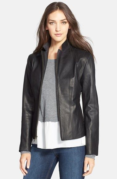 a9c5aaf02 Yes. This one. Cole Haan Notch Collar Lambskin Leather Jacket ...