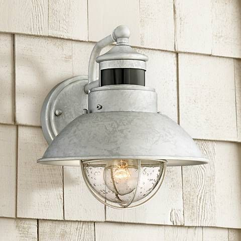Oberlin 9 High Galvanized Steel Motion Sensor Wall Light 1n591 Lamps Plus In 2020 Outdoor Ceiling Lights Led Porch Light Porch Lighting