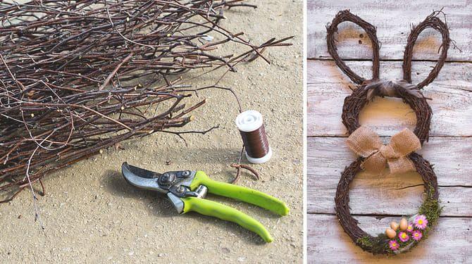 Vyrobte si veľkonočného zajka z brezových prútov.