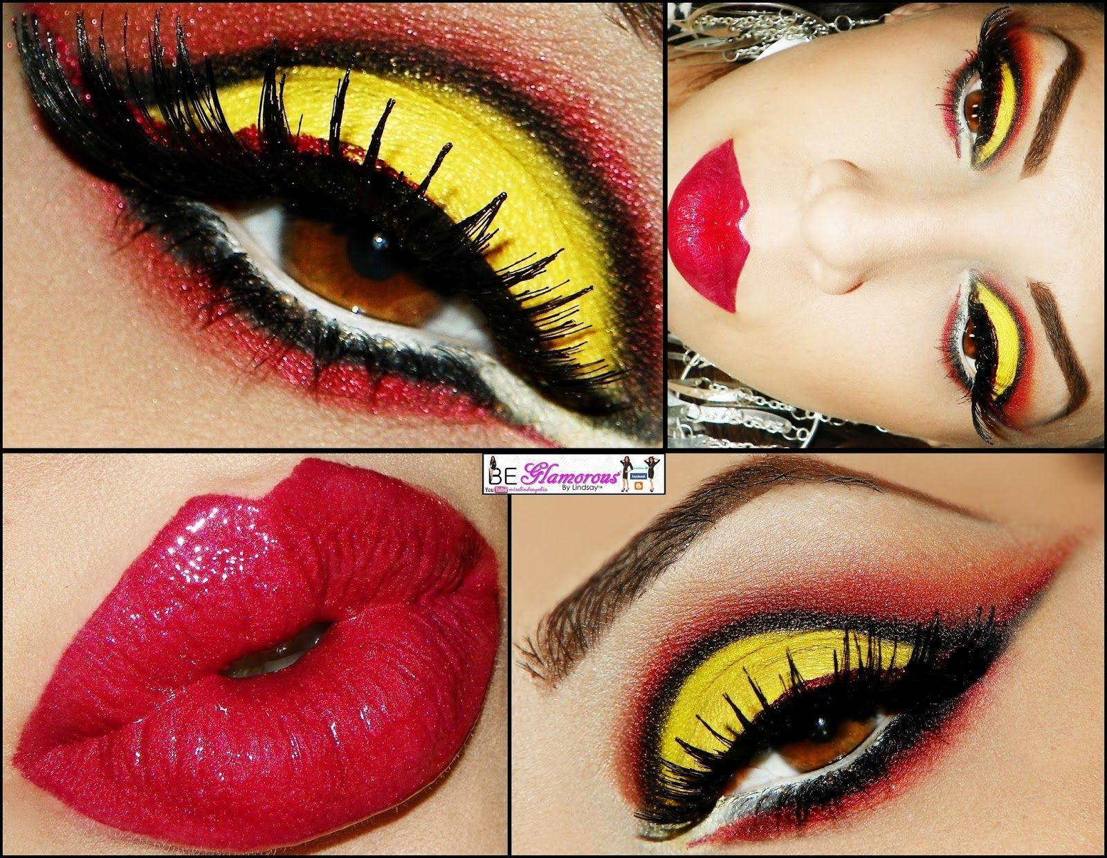 Kansas City Chiefs Makeup Yellow Eye Makeup Sparkly Makeup Makeup