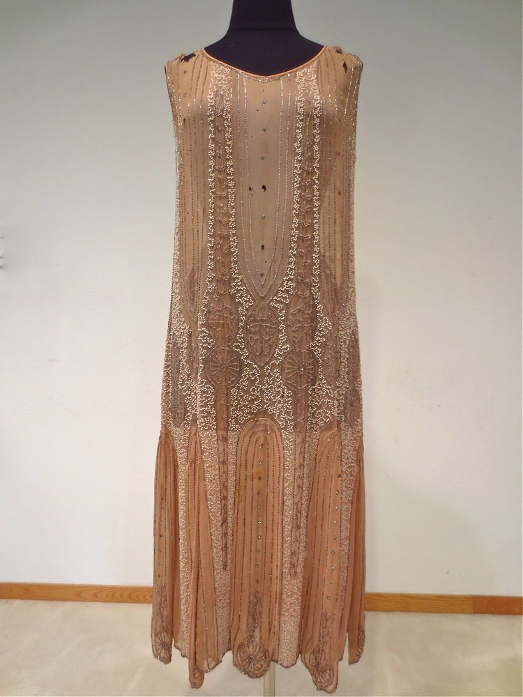 dusty 1920s beaded flapper dress as is silvered
