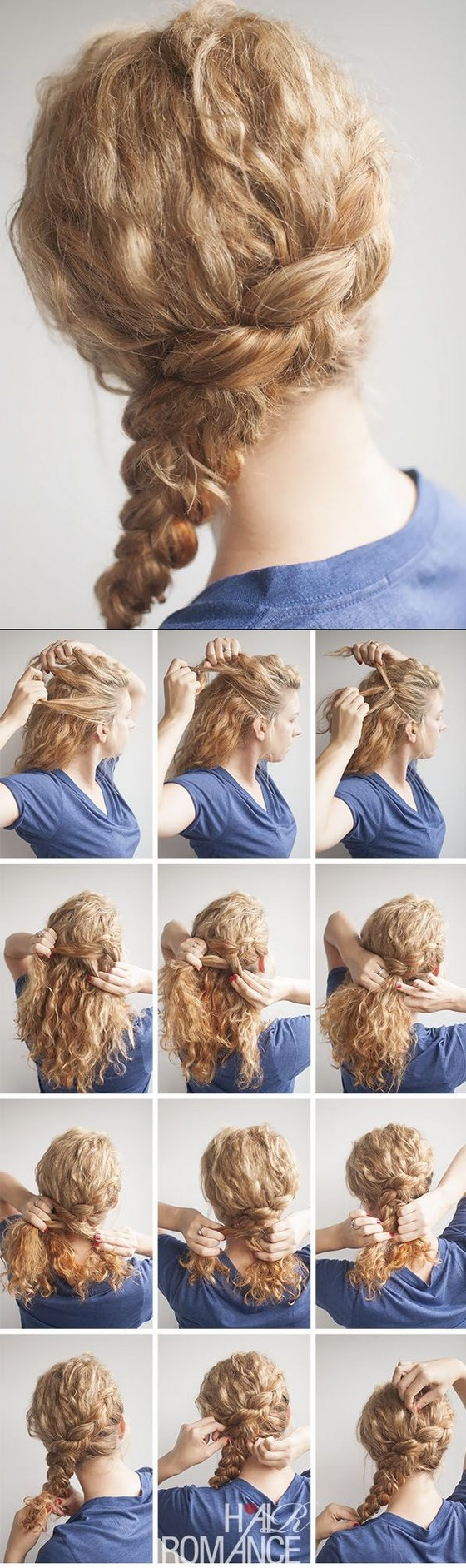 Hermosos peinados pelo rizado para todos los das Trenza lateral