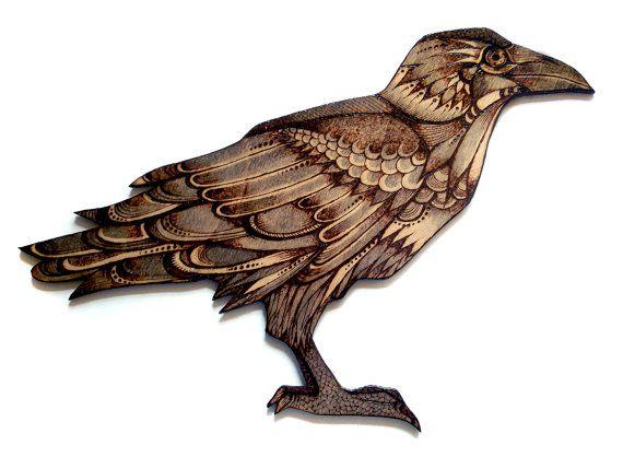 wood Crow Wall Hanging, pyrography crow, Wood burning art ...