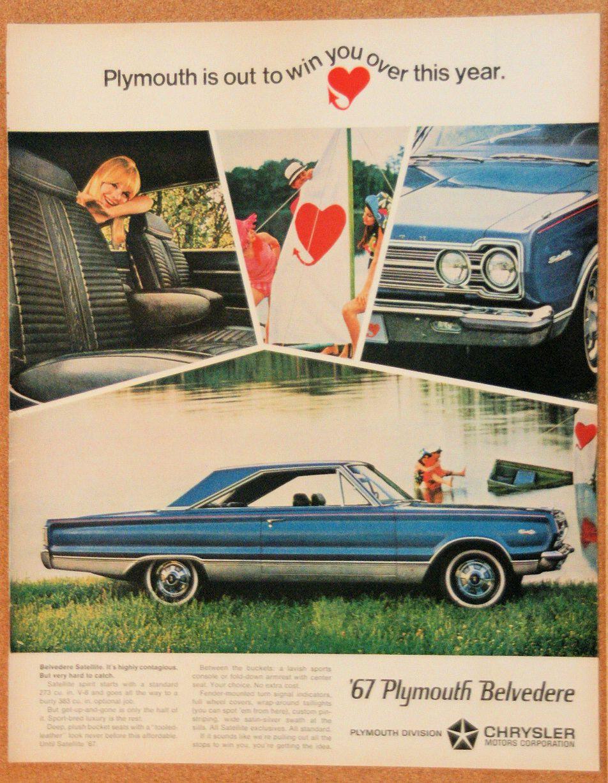 1967 Plymouth Colors Satellite Wiring Diagram Belvedere Vintage Original Car Ad Anteekads 952x1227