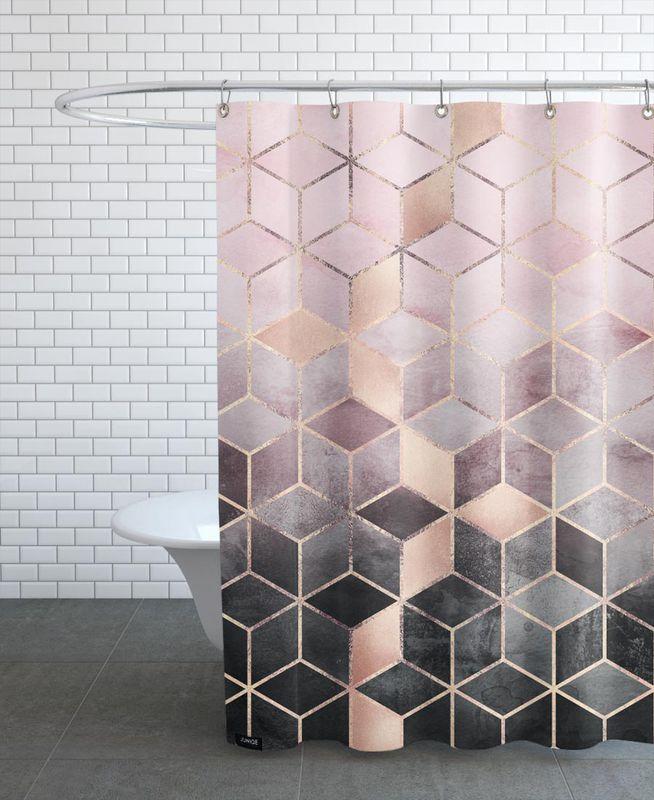 pink grey gradient cubes als duschvorhang juniqe duschvorhang pinterest duschvorh nge. Black Bedroom Furniture Sets. Home Design Ideas