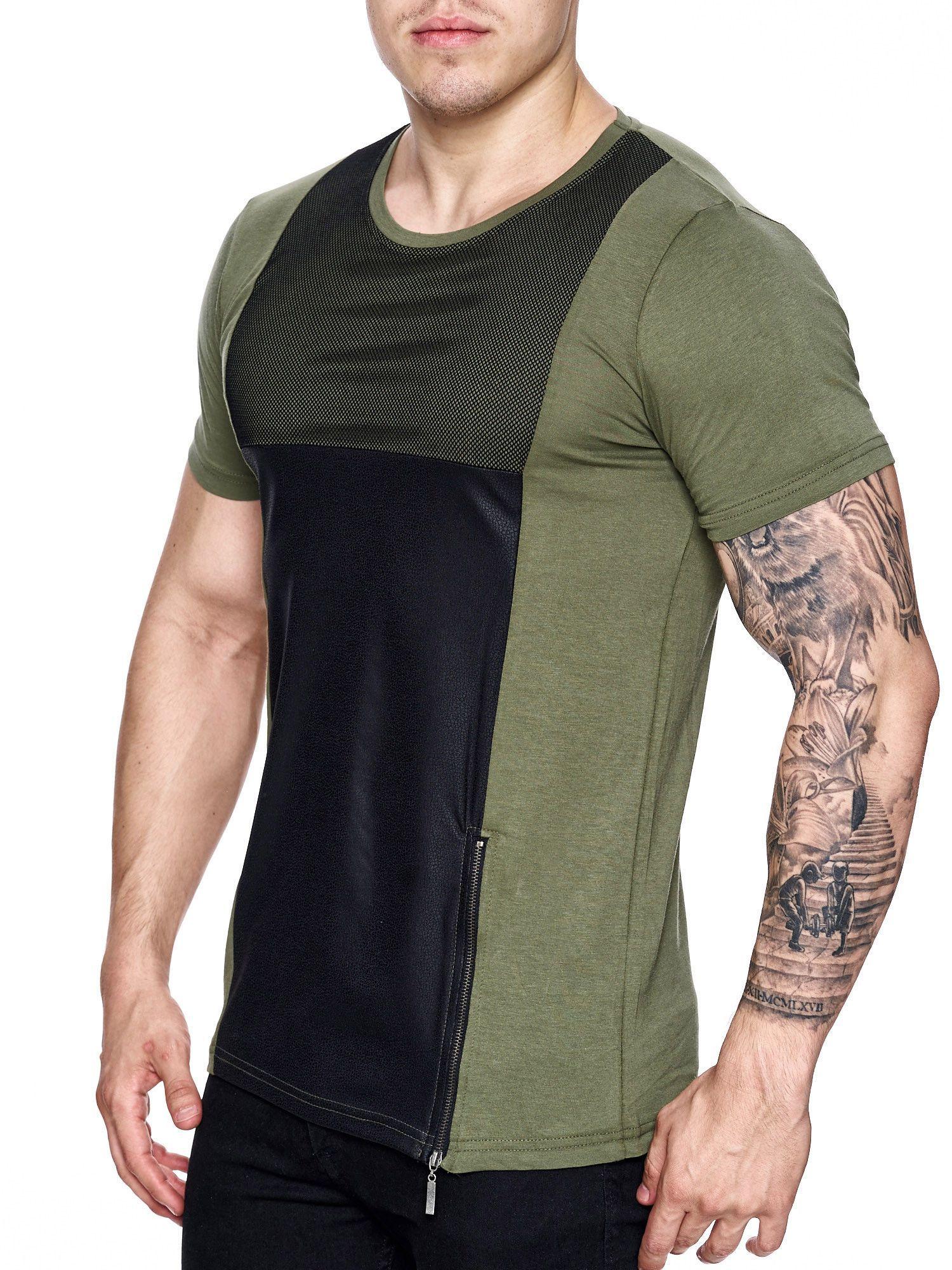 Black t shirt with zipper - K D Men Mesh Top Side Zipper T Shirt Army Green