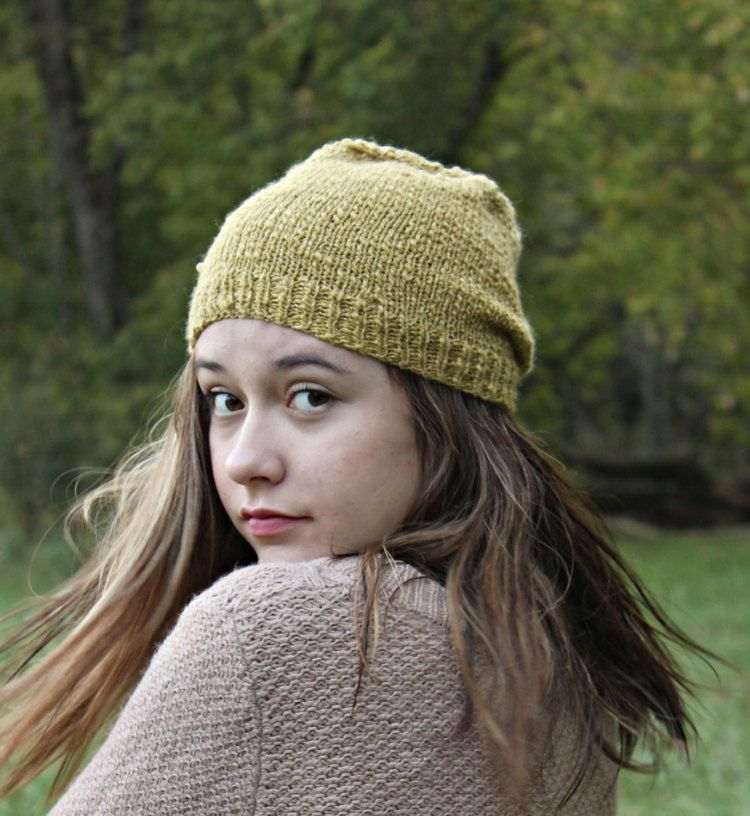 Knit Beanie Hat in Mustard Color Hand Knit by TinkerCreekHandknits ...