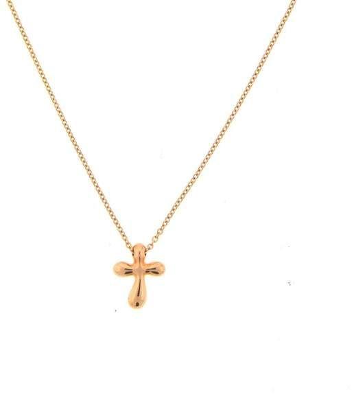 Tiffany Co Elsa Peretti 18k Rose Gold Cross Pendant Necklace Gold Cross Pendant Cross Pendant Necklace Cross Pendant
